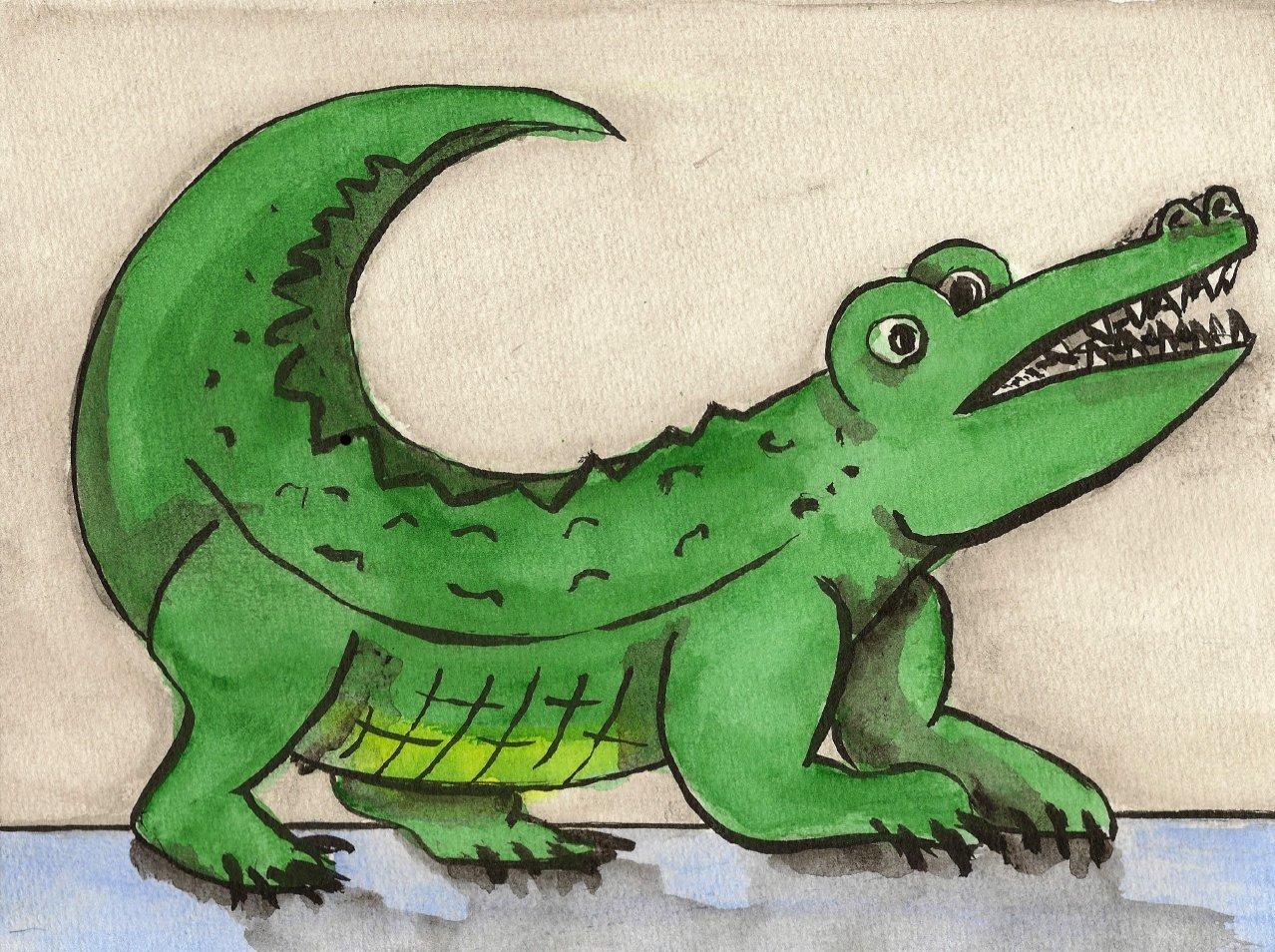 Cliparts gratuits crocodile dessin d 39 un crocodile la for Peinture crocodile